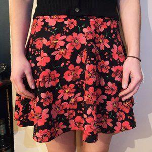 Atmosphere red & black floral print mini skirt